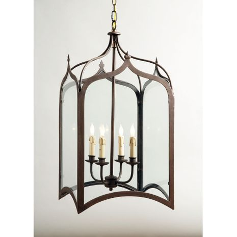 68028 Chelsea House Metal Gothic Lantern With Glass Panels Antique Silver Roma Lantern