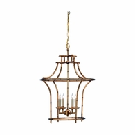 68030 Chelsea House Faux Bamboo Metal Frame Antique Gold Bamboo Chandelier