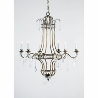 68033 Chelsea House Italian Gilt Metal Frame Crystal Pendants And Chains Wakefield Chandelier