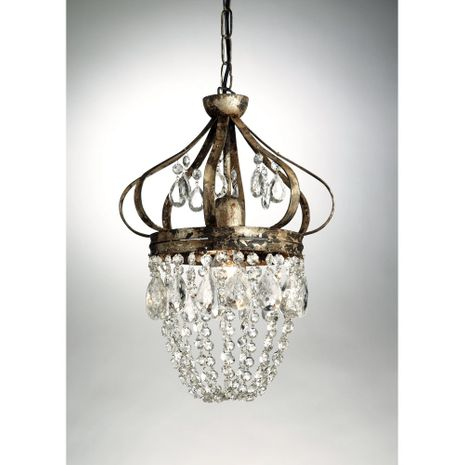 68035 Chelsea House Metal With Crystal Pendants & Swags Antique Silver Dunsmore Pendant
