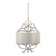 68037 Chelsea House Gold Metal Twig Frame Hard Silk Shade Savannah Chandelier