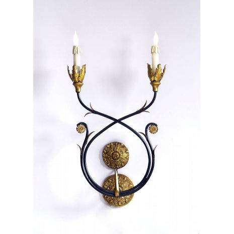 68040 Chelsea House Black Metal Frame Black With Gilt Accents 21-0005 Burkhart Sconce