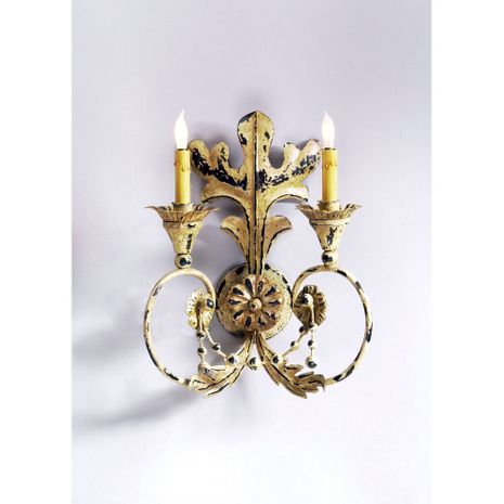 68042 Chelsea House Erusticated Metal Frame Acanthus Leaf Old World Sconce