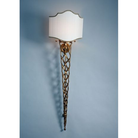 68045 Chelsea House Antique Gold Frame 3/4 Shade Trimmed In Gold San Piero Tall Sconce