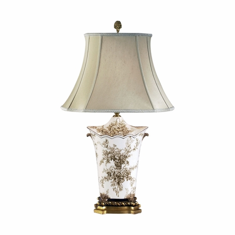 68087 Chelsea House Ceramic Gold Base. Floral Decal. Scallop Toile Bouquet Lamp