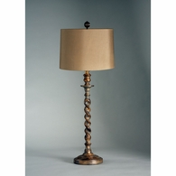 68090-2 Chelsea House Italian Handcarved Wood Shade Option Barley Twist Buffet Lamp