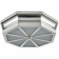 68100/3 ELK Lighting Windsor 3-Light Flush Mount in Polished Nickel with Frosted Glass Diffuser