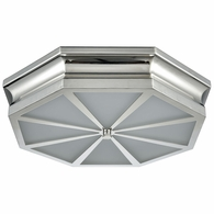 68101/3 ELK Lighting Windsor 3-Light Flush Mount in Polished Nickel with Frosted Glass Diffuser