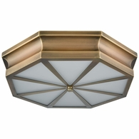 68111/3 ELK Lighting Windsor 3-Light Flush Mount in Classic Brass with Frosted Glass Diffuser