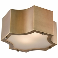 68130/2 ELK Lighting Gordon 2-Light Flush Mount in Classic Brass with Frosted Glass Diffuser