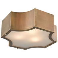 68131/3 ELK Lighting Gordon 3-Light Flush Mount in Classic Brass with Frosted Glass Diffuser
