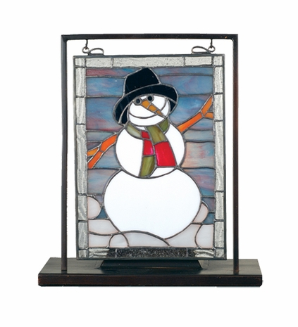 68340 Meyda Tiffany Tiffany Art Glass Recreation Holiday Snowman mini Window