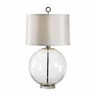 68527 Chelsea House Lisa Kahn Bubble Glass. Metal. Polished Nickel Accents Bubble Glass Sphere Lamp