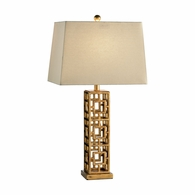 68559 Chelsea House Pam Cain Iron Gold Finish Squares In Squares Lamp