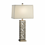 68560 Chelsea House Pam Cain Iron Silver Finish Squares In Squares Lamp
