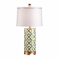 68562 Chelsea House Pam Cain Hand Painted Porcelain Green & White. Gold Accents Bamboo Squares Lamp