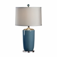 68644 Chelsea House Lisa Kahn Porcelain And Acrylic Nickel Mounts Large Blue Vase Lamp