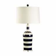 68663 Chelsea House Lisa Kahn Porcelain And Acrylic Blue & White Beach Stripe Lamp