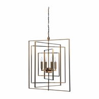 68689 Chelsea House Lisa Kahn Metal Brass Finish Cube Chandelier
