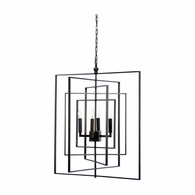 68690 Chelsea House Lisa Kahn Metal Bronze Finish Cube Chandelier