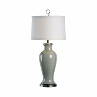 68725 Chelsea House Pam Cain Grey Glazed Porcelain Silver Leaf Mounting Grey Vase Lamp