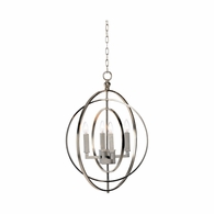 68743 Chelsea House Lisa Kahn Iron Antique Silver Round Chandelier - Silver (Sm