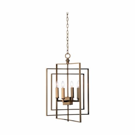 68745 Chelsea House Lisa Kahn Iron Antique Brass Cube Chandelier - Gold (Sm)