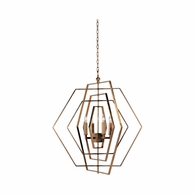 68746 Chelsea House Lisa Kahn Iron Antique Gold Hexagon Chandelier