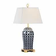 68802 Chelsea House Pam Cain Hand Decorated Blue & White Ceramic Gold Leaf Base - Antique Brass Details Cain Porcelain Lamp