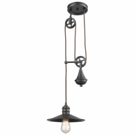 69083/1 ELK Lighting Spindle Wheel 1-Light Adjustable Pendant in Oil Rubbed Bronze with Matching Shade