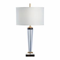 69158 Chelsea House Pam Cain Crystal, Metal & Marble Antique Gold Leaf Jefferson Lamp