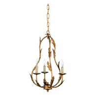 69168 Chelsea House Pam Cain Iron Antique Gold Leaf Petite Chandelier - Gold