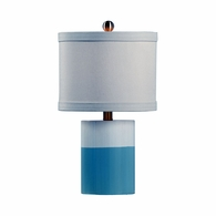 69199 Chelsea House Pam Cain Wood Antique Cream And Blue Banded Lamp - Cream