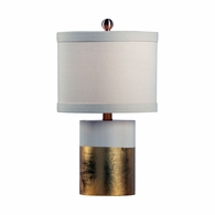 69200 Chelsea House Pam Cain Wood Antique Cream & Gold Leaf Banded Lamp - Gold