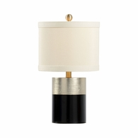 69201 Chelsea House Pam Cain Wood Antique Silver And Black Banded Lamp - Silver