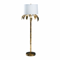 69230 Chelsea House Bradshaw Orrell Iron Antique Gold Leaf Palm Floor Lamp - Gold