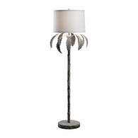 69231 Chelsea House Bradshaw Orrell Iron Gold With White Wash Palm Floor Lamp - White Wash