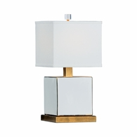 69236 Chelsea House Pam Cain Porcelain White/Gold Block Lamp - Classic