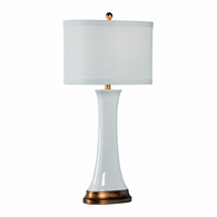 69254 Chelsea House Pam Cain Ceramic White Glaze Hopper Lamp - White