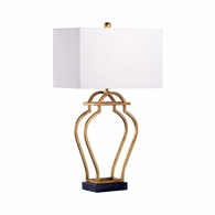 69362 Chelsea House Jamie Merida Iron & Marble Antique Gold Nanjing Lamp - Gold