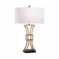69363 Chelsea House Jamie Merida Iron & Marble Antique Gold Kowloon Lamp - Gold