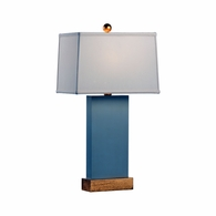 69380 Chelsea House Pam Cain Wood & Metal Warm Gray & Gold Leaf Satterfield Lamp