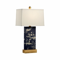 69382 Chelsea House Pam Cain Wood & Metal Plum/Cream & Gold Leaf Chinoiserie Panel Lamp