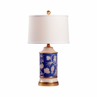 69386 Chelsea House Pam Cain Ceramic Blue/Cream Glaze & Gold Leaf Middlebury Lamp