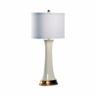 69421 Chelsea House Pam Cain Ceramic Cream Glaze & Gold Leaf Hopper Lamp - Cream