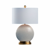 69459 Chelsea House Pam Cain Ceramic Cream Glaze/Textured/Gold Leaf St Mary Lamp - Cream