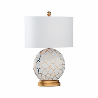 69460 Chelsea House Pam Cain Ceramic White/Metallic Gold Glaze/Gold Leaf St Mary Lamp - White