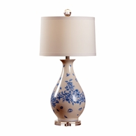 69478 Chelsea House Pam Cain Ceramic & Acrylic Blue/White Glaze Spring Time Lamp