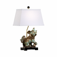 70005 Chelsea House Bradshaw Orrell Ceramic Hand Painted Chinese Dog Lamp - Left