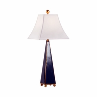 70014 Chelsea House Bradshaw Orrell Ceramic Green/Metallic Gold Glaze Pyramid Lamp - Green